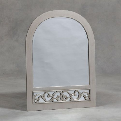 Rococo Arch Top Wall Mirror in Antique Silver
